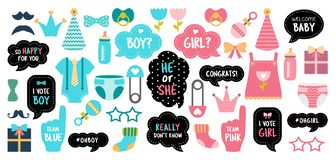 Gender reveal baby shower photo booth props. Gender reveal party. Baby shower photo booth props. Boy or girl Blue or pink Vector photobooth set: speech bubbles royalty free illustration