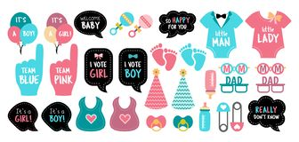 Gender reveal baby shower photo booth props. Baby shower photo booth props. Gender reveal party. Pink and blue cards to choose boy or girl. Vector photobooth set stock illustration
