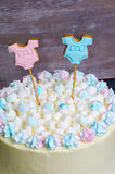 Gender reveal cake with marshmallow and gingerbread Royalty Free Stock Photo