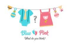 Gender reveal party, baby shower, boy or girl. Gender reveal party. Baby shower celebration. Boy or girl Blue or pink Vector illustration for invitation, card stock illustration