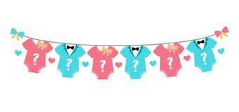 Gender reveal party, baby shower, boy or girl. Gender reveal party. Baby shower celebration. Boy or girl Blue or pink Vector illustration for invitation, card vector illustration