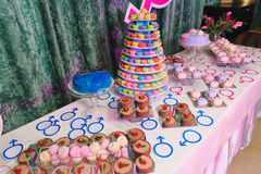 Gender reveal party with macaroon tower and cakes Royalty Free Stock Photography