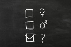 Gender's. Checkbox'es with gender selection draw on blackboard royalty free stock photo