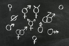Gender's. The different gender's sign draw on blackboard Stock Photos