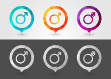 Gender sex symbol signage with a pixel diamond texture. Creative design Stock Images