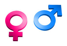 Gender signs 3d on white Royalty Free Stock Photography