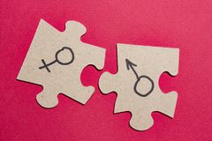 Gender signs of man and woman on puzzles. Sexual concept with the sex characteristics of men and women. Gender signs of man and woman on puzzles. Sexual concept stock images