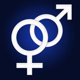 Gender symbol. Male and female gender symbol gradient background Stock Images