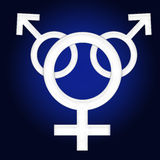 Gender symbol. Male and female gender symbol gradient background Stock Photo