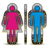Gender Symbol. Male and woman gender symbol, displayed in a luxurious way with diamonds Stock Images