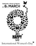 Gender symbol consisting of flying butterflies. 8 March. International Womens Day card Stock Photography