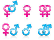 Gender Symbol Icons EPS. The gender signs arranged in six various pairings. Reflections placed on separate layer for ease of use Stock Photo