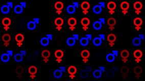 Gender symbol icons in red and blue colors on black stock video footage