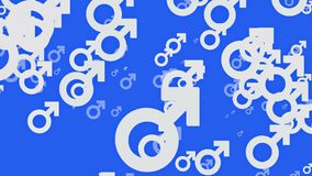 Gender symbol icons in white on blue stock video footage