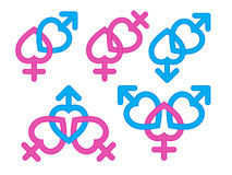 Gender symbol : Male and female symbols combination Stock Image