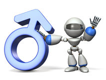 Gender symbol with Robot. Royalty Free Stock Photos