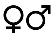 Gender Symbols. Male and female gender symbols, isolated on white background Royalty Free Stock Photo
