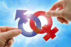 Gender symbols. Male and female gender symbols Royalty Free Stock Photography