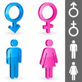 Gender symbols. Three-dimensional shapes of male and female gender symbols Stock Photography