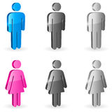 Gender symbols. Three-dimensional shapes of male and female figures Stock Image