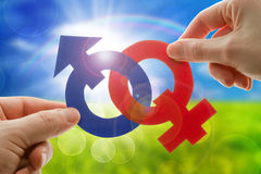 Gender symbols. Male and female gender symbols Stock Photos