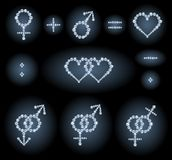 Gender symbols. The collection of some diamond symbols: gender symbols, couples, heart shapes and mathematical signs Royalty Free Stock Photos
