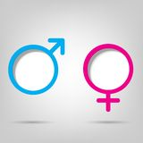 Gender symbols. With space for text Stock Photography