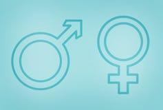 Gender symbols on blue Stock Images