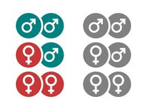 Gender symbols in circles Royalty Free Stock Photography