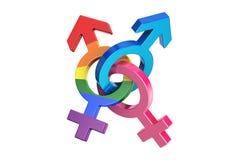 Gender symbols, 3D rendering Stock Image