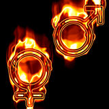 Gender symbols on fire. Male and female symbols on fire Royalty Free Stock Photos
