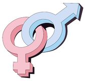 Gender symbols interlocked Stock Photo