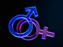 Gender symbols of man and woman on black background. 3D renderin. G Stock Photo