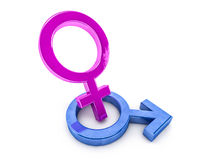 Gender symbols of man and woman. 3D. Rendering Stock Image