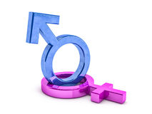 Gender symbols of man and woman. 3D. Rendering Stock Photos