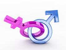 Gender symbols of man and woman. 3D. Rendering Royalty Free Stock Photography