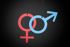 Gender Symbols. Paper Gender Symbols. Black Background royalty free stock image