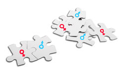 Gender Symbols. Puzzle with gender symbols as concept for love Royalty Free Stock Photo