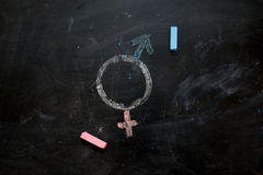 Gender symbols or signs for the male and female sex drawn on a blackboard stock photography