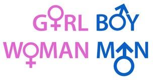 Gender Symbols-Words Stock Photo