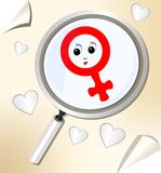 Gender theme with female symbol under magnifier Stock Photos