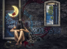 Gender Violence. Abuse, domestic abuse and addiction Stock Photo