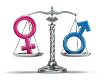 Gendergelijkheidconcept Mannelijke en vrouwelijke tekens op de schalen ISO Stock Afbeeldingen