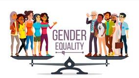 Gendergelijkheidvector Man, Vrouw, Mannetje, Wijfje op Schalen Gelijke kans Geïsoleerde vlakke beeldverhaalillustratie royalty-vrije illustratie