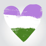Genderqueer pride flag in a form of heart Royalty Free Stock Images