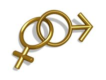Genders. Golden gender symbols Royalty Free Stock Photo