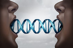 Gene Cloning. And DNA medical clone technology concept as clones with a double helix molecular structure connecting the two people as a genome biotechnology Stock Photography