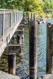 Gene Coulon Park Bridge. A view of a walking bridge at Gene Coulon Park in Renton, Washington royalty free stock image