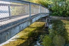 Gene Coulon Park Bridge 2. A view of a walking bridge at Gene Coulon Park in Renton, Washington stock photography