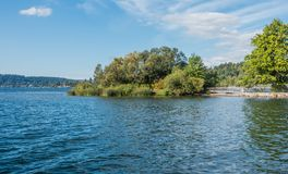 Gene Coulon Park Island 2. A view of a small island at Gene Coulon Park in Renton, Washington stock image